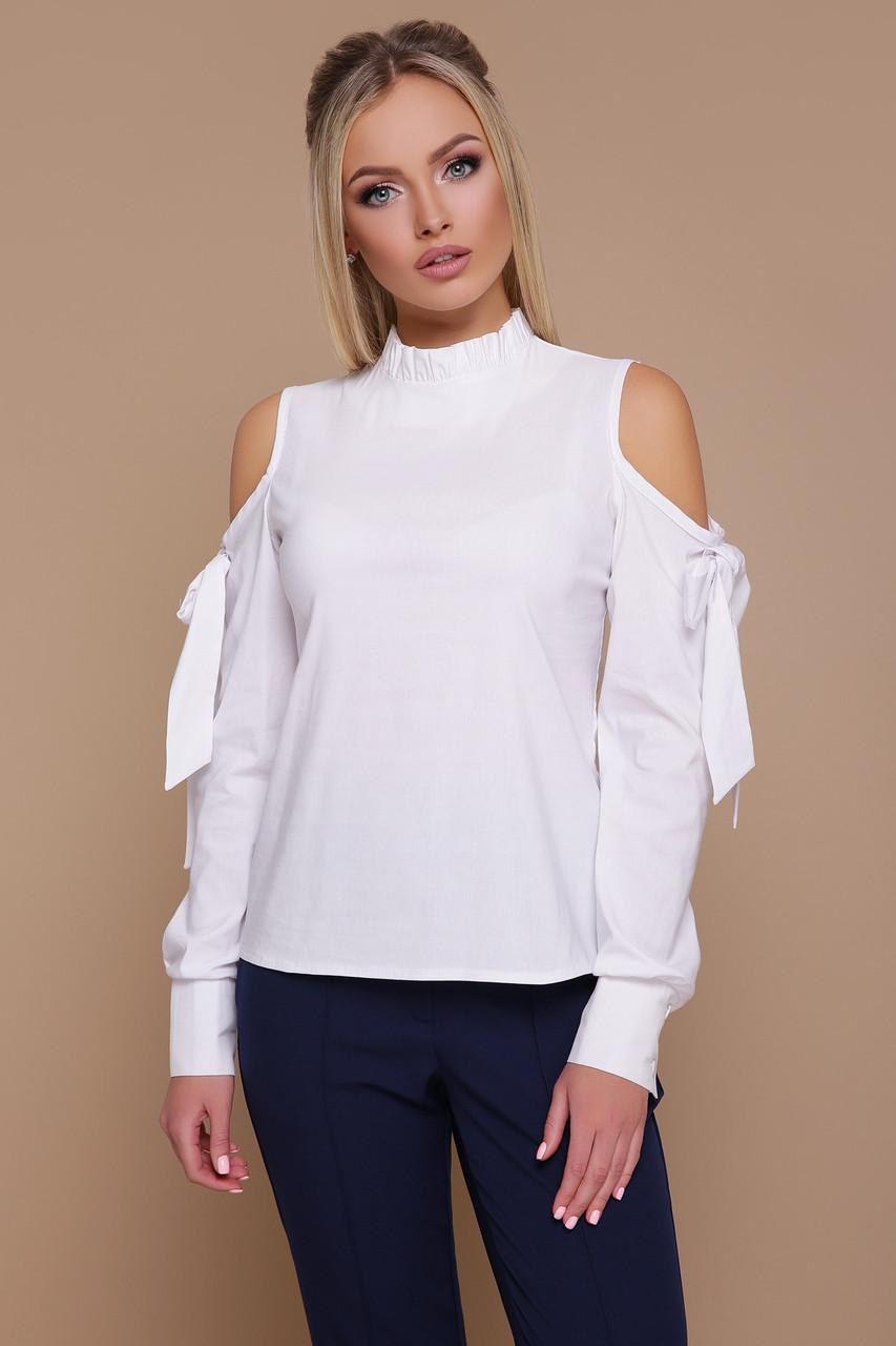 Белая деловая блуза с открытыми плечами Варвара д/р