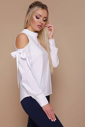 Белая деловая блуза с открытыми плечами Варвара д/р, фото 2