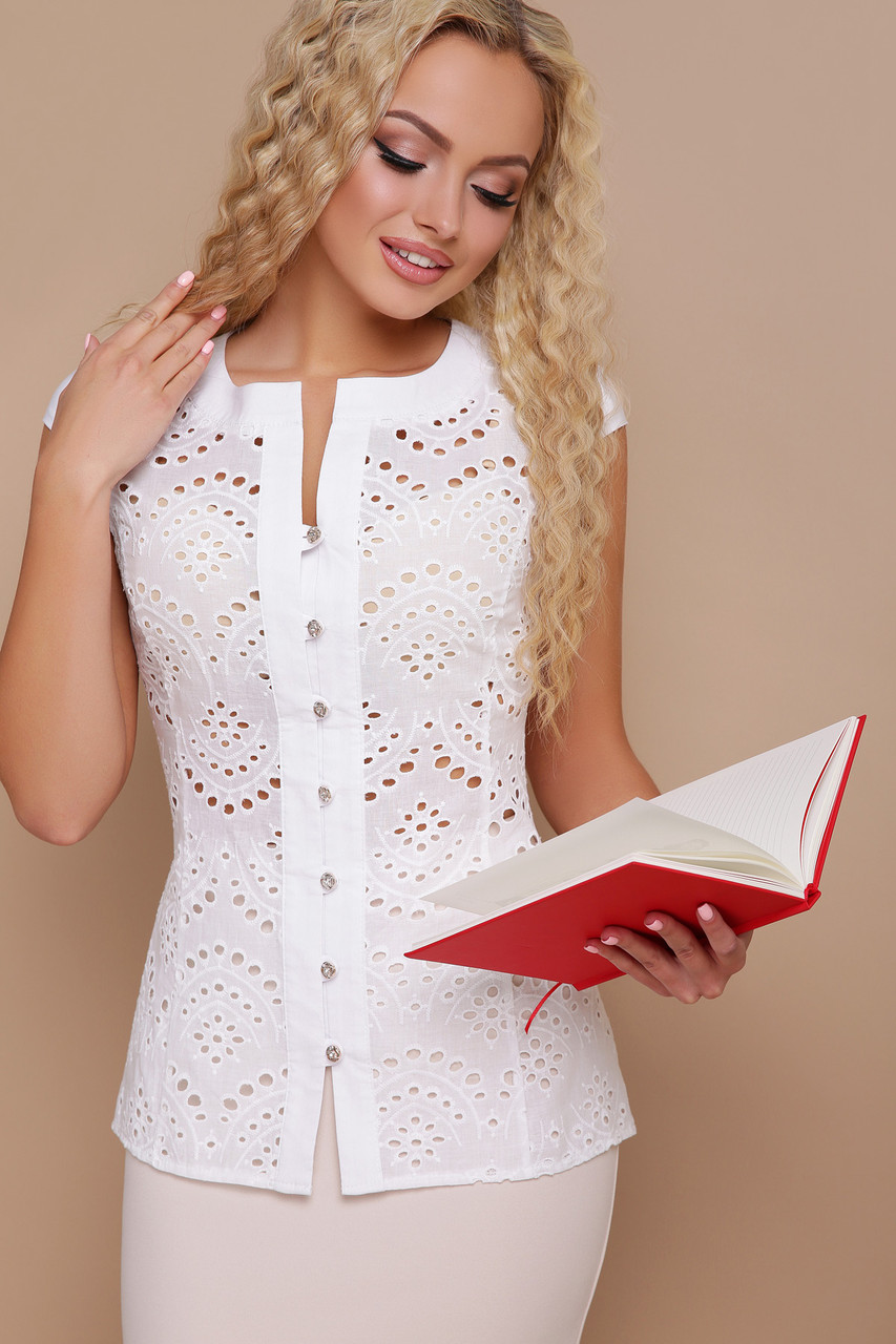 Белая деловая блуза Флори к/р