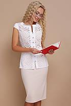 Белая деловая блуза Флори к/р, фото 3