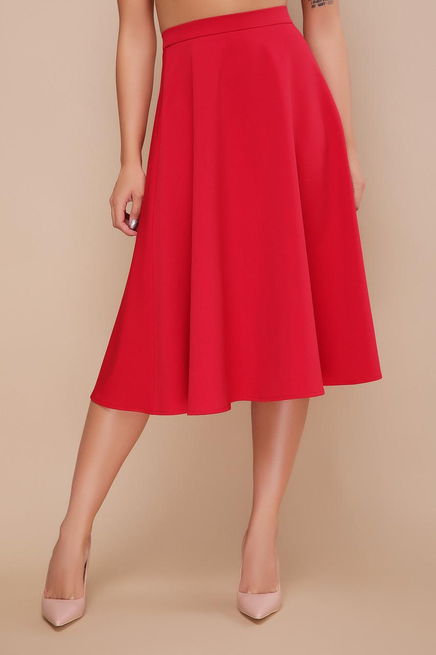 Красная женственная длинная юбка ниже колена клеш мод. №19К