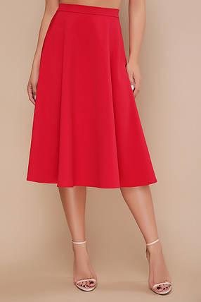 Красная женственная длинная юбка ниже колена клеш мод. №19К, фото 2
