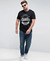 "Качественная мужская футболка ""Мотоцикл"" черная. Размер 52-54"