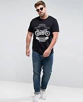 "Качественная мужская футболка ""Мотоцикл"" черная. Размер 52-54, фото 1"