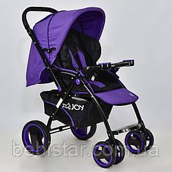 Детская коляскафиолетовая с перекидной ручкой JOY Т 100 Violet  в льне для деток до 3 лет