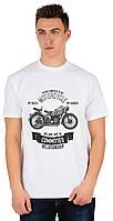 """Качественная мужская футболка """"Мотоцикл"""" белая. Размер 50-52"""