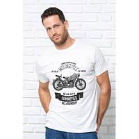 "Качественная мужская футболка ""Мотоцикл"" белая. Размер 54-56, фото 1"
