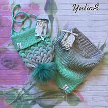 Детский вязанный набор шапочка и снуд ручной вязки для девочки и мальчика с натуральным бубоном.