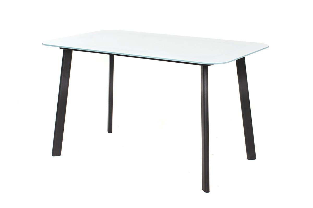 Стол Т-312 стекло белый 130*80 от Vetro Mebel, черные ноги