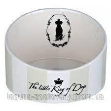 Миска для собак Кинг оф Дог 0,25л/14см, с неровным бортом, белый, керамика