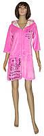 Халат подростковый велюровый для девочки 18044 Simple Cat Pink, р.р.40-42