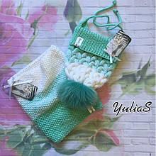 Зимний вязанный набор шапочка и снуд ручной вязки для мальчика и девочки с натуральным большим меховым бубоном