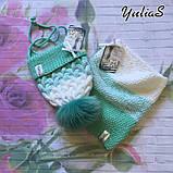 Зимний вязанный набор шапочка и снуд ручной вязки для мальчика и девочки с натуральным большим меховым бубоном, фото 2