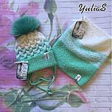 Зимний вязанный набор шапочка и снуд ручной вязки для мальчика и девочки с натуральным большим меховым бубоном, фото 3