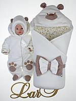 """Осенний набор для выписки из роддома  """"Панда"""" белый"""