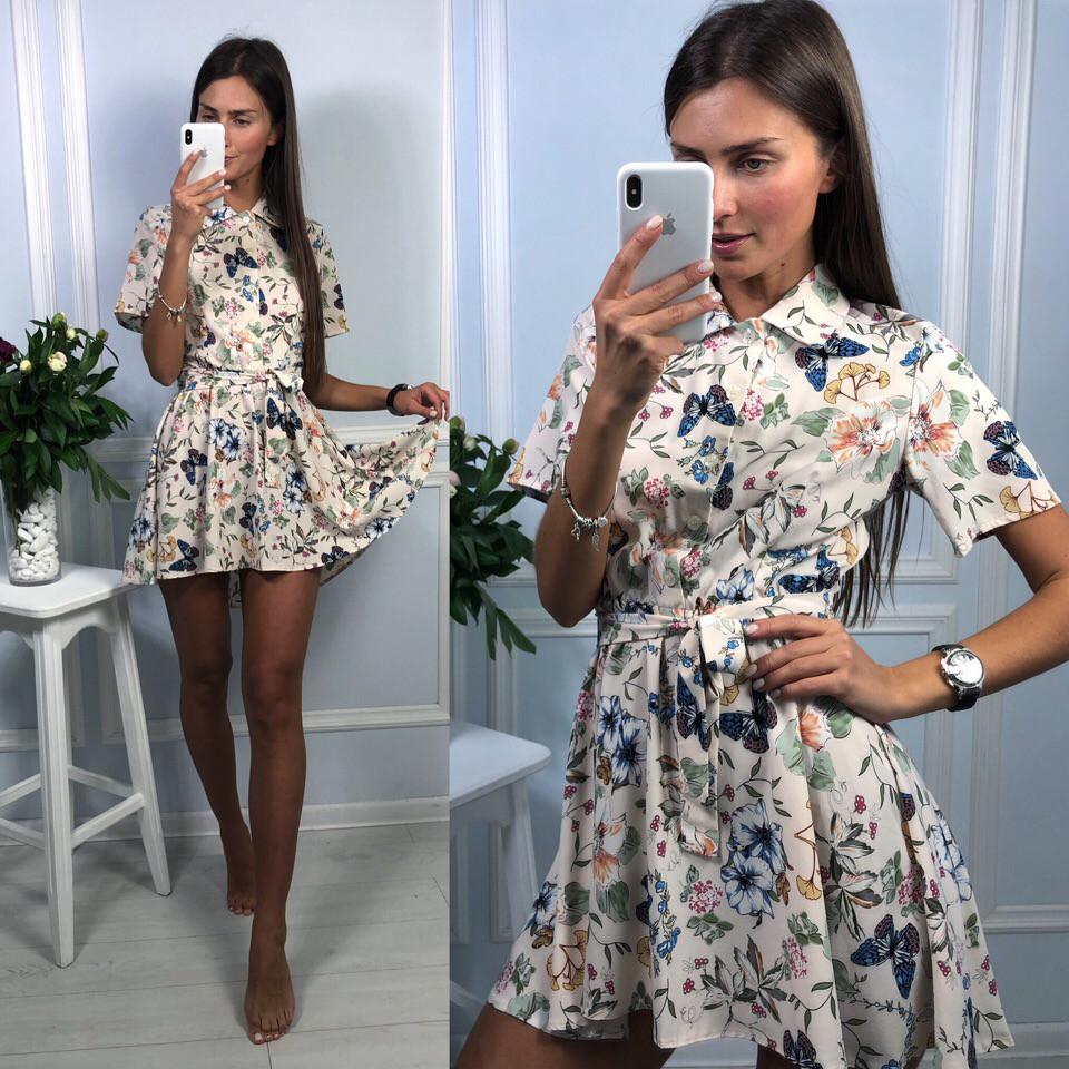 Короткое платье-рубашка в принт