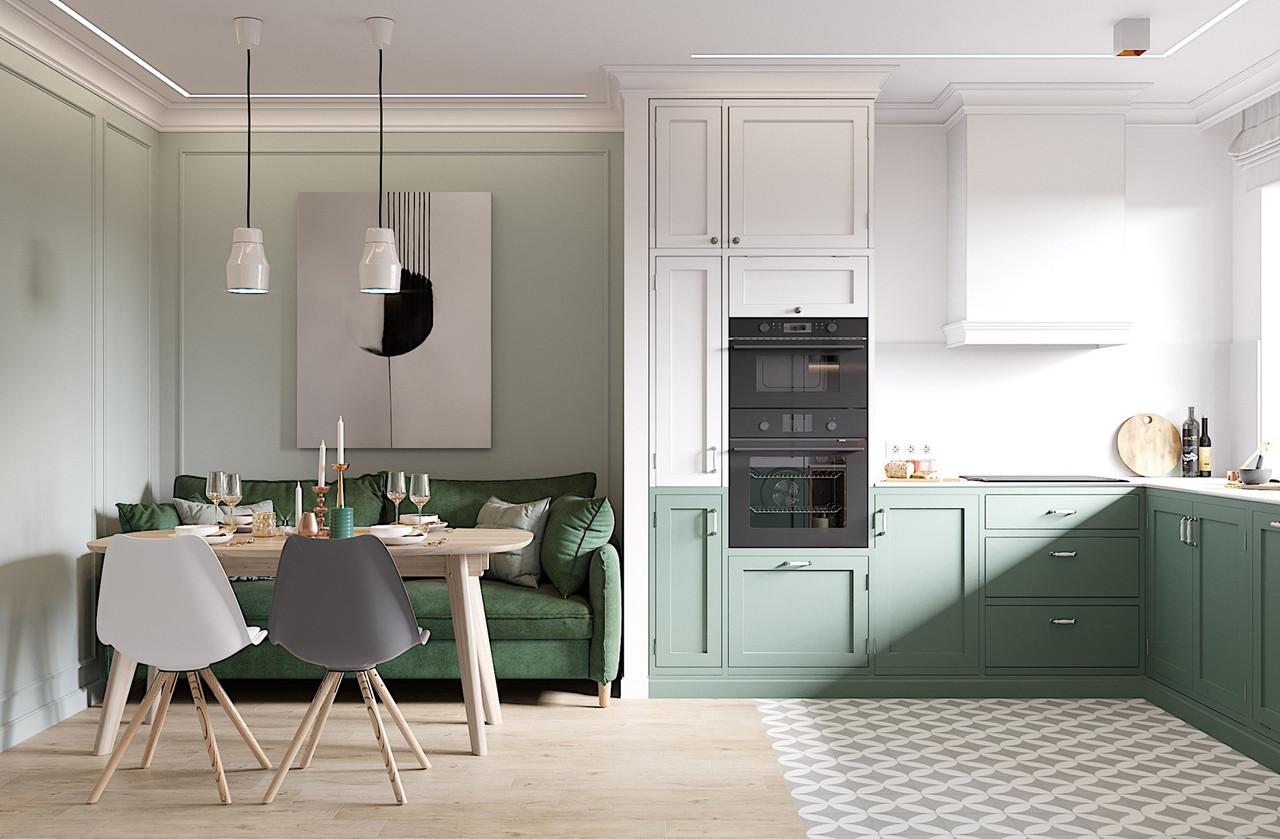 Кухня на заказ с зелеными фасадами BLUM-063