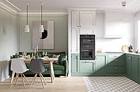 Кухня на заказ с зелеными фасадами BLUM-063 , фото 1