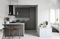 Кухня на заказ с серыми фасадами BLUM-064, фото 1