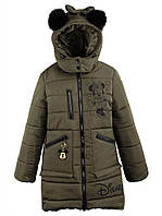 Зимняя куртка для девочек Микки, жилет овчина и капюшон отстегивается р.104,110,116,122,128, 134,140,146 Хаки