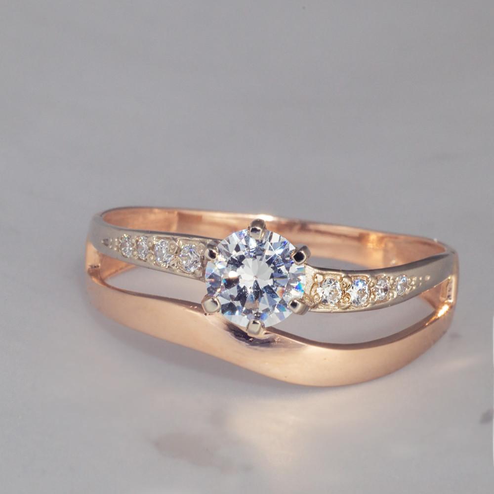 Золотое кольцо фианит. КП1630