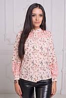 Женская рубашка со вставкой из гипюра / вискоза, гипюр / Украина 25-16990-1, фото 1