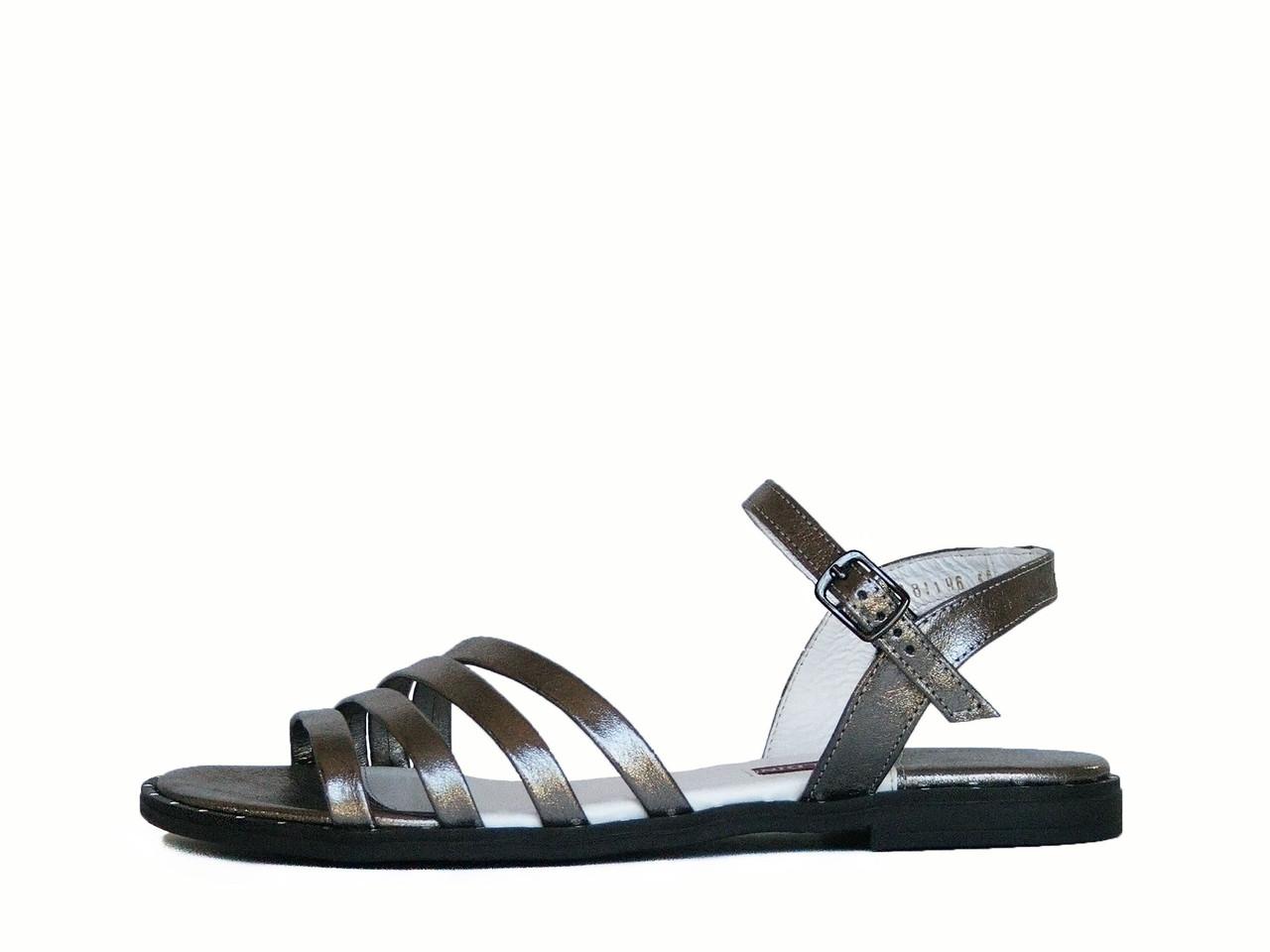 Серебристые кожаные сандалии