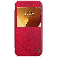 Кожаный чехол-книжка Nillkin Qin Series для Samsung  A720 Galaxy A7 (2017) red