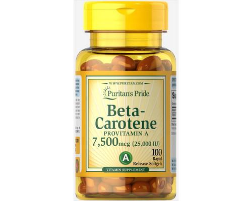 Витамины BETA-CAROTENE 7,500 mcg (25,000 IU) 100 гелевых капсул