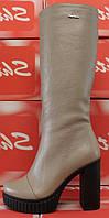 Сапоги женские демисезонные на высоком устойчивом каблуке из натуральной кожи от производителя модель ЛС-26, фото 1