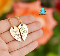 """Кулон парный для влюбленных """"Her one. His only"""". Цвет золото. Цена за 1 пару"""
