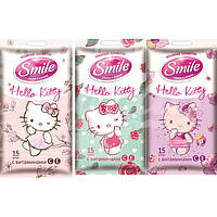 Салфетки влажные SMILE 15 шт. Hello Kitty с витам. С, Е