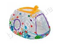Intex Игровой центр надувной, прозрачный, подводная лодка, с подвижным перископом, 10 шариков