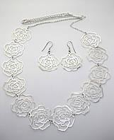 Ожерелье цветы+серьги, фото 1