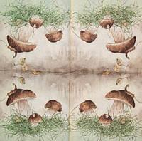 Коллекционная декупажная салфетка Белые грибы 1393