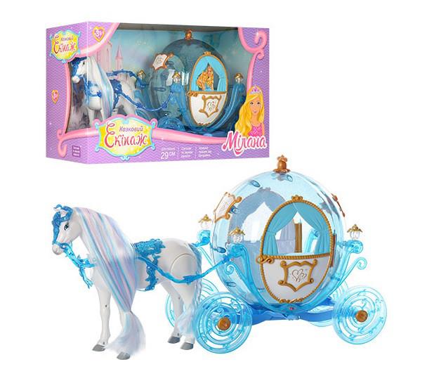 Карета 216B с лошадью, свет, звук, лошадь ходит