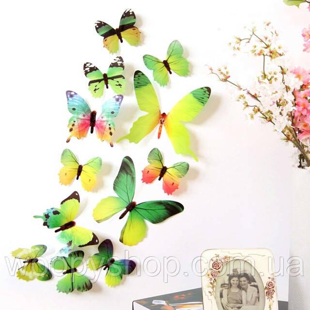 Бабочки декор 3D зелёные. Интерьерные наклейки