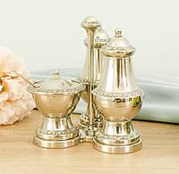 Посеребренный набор для специй, соль перец, глубокое серебрение, Англия, фото 1