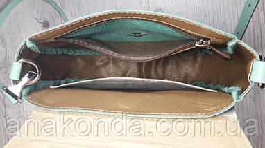 346 Натуральная кожа, Круглая сумка кросс-боди, мятная, цветы лаванда, мята, фото 3