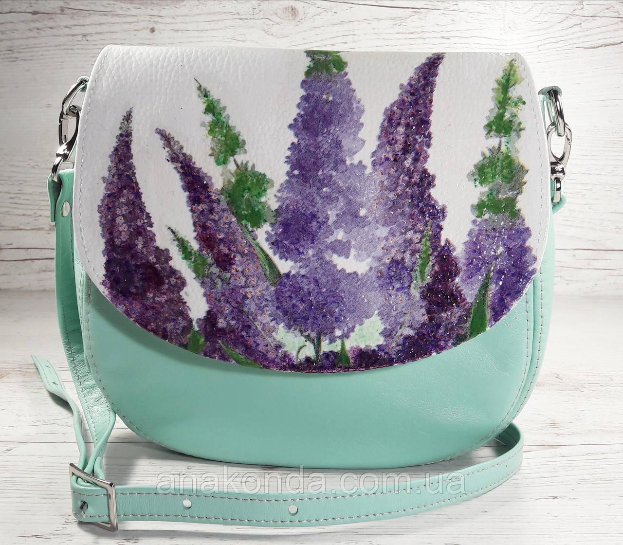 346 Натуральная кожа, Круглая сумка кросс-боди, мятная, цветы лаванда, мята