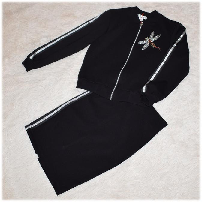 Костюм школьный для девочки (кофта - бомбер + юбка) черный 146 152 158 164