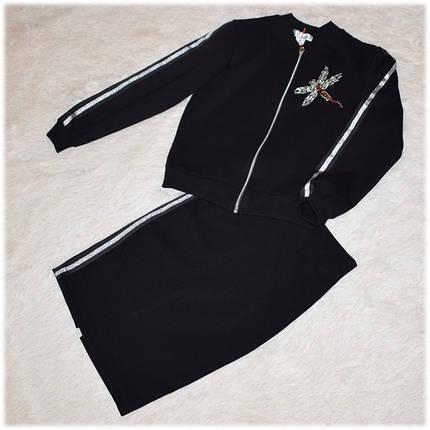 Костюм школьный для девочки (кофта - бомбер + юбка) черный 146 152 158 164, фото 2