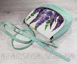 346 Натуральная кожа, Круглая сумка кросс-боди, мятная, цветы лаванда, мята, фото 2