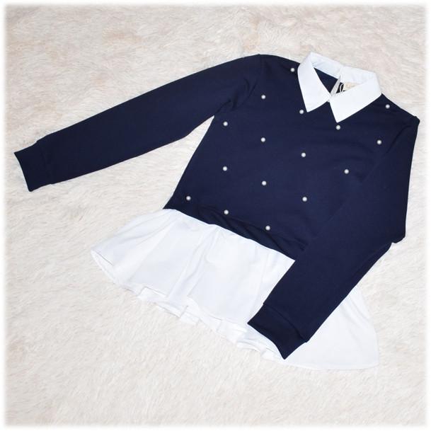 Кофта-обманка школьная для девочки синяя с жемчужинами 140 146 152 158 164