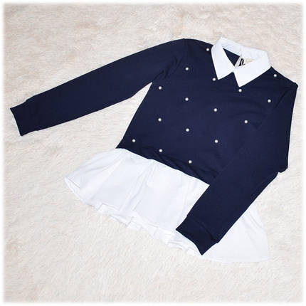 Кофта-обманка школьная для девочки синяя с жемчужинами 140 146 152 158 164, фото 2