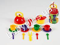 Набор посуды с кастрюлей и чайником (16 предметов)