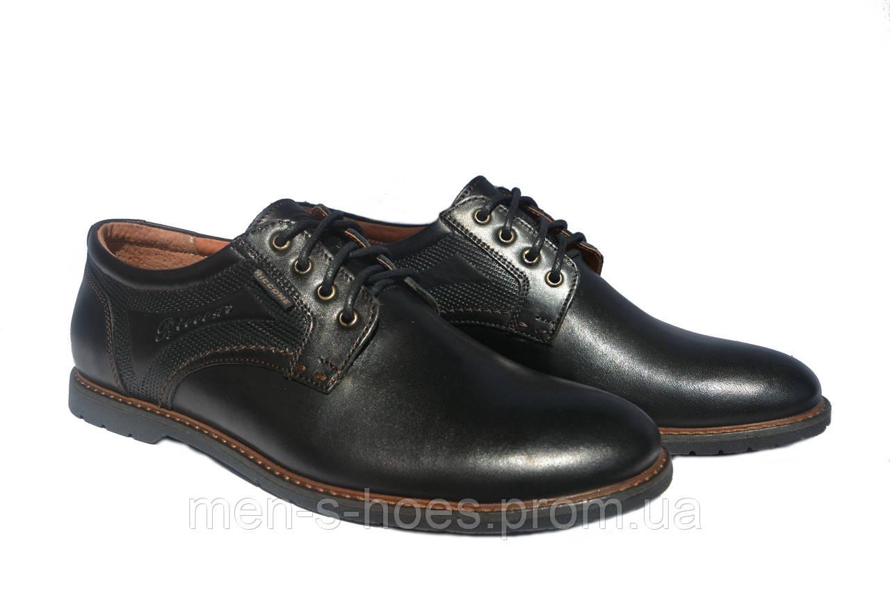 Туфли мужские кожаные на шнурках Riccone Shoes Black