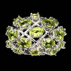Серебряное кольцо с натуральными Перидотами