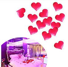 Конфетти красные сердечка - в наборе 50шт., (размер одного сердечка 3,5*2,5см), тканевые