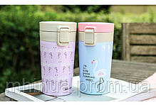 Термокружка Treein Art 280мл Фламинго Purple, фото 3